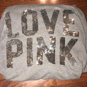 PINK grey sequined Zip Up Jacket